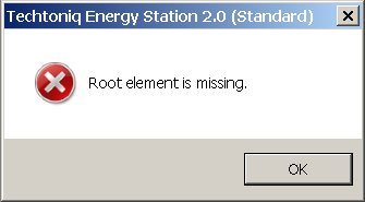 Techtoniq Energy Station  - Root Element is missing error